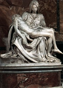 """Pietà"" 1499, mermer, yük.174 cm, taban genişliği 195 cm Basilica di San Pietro, Vatican"