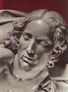 """""""Pietà""""ayrıntı, 1499, mermer, yük. 174 cm, taban genişliği 195 cm Basilica di San Pietro, Vatican"""
